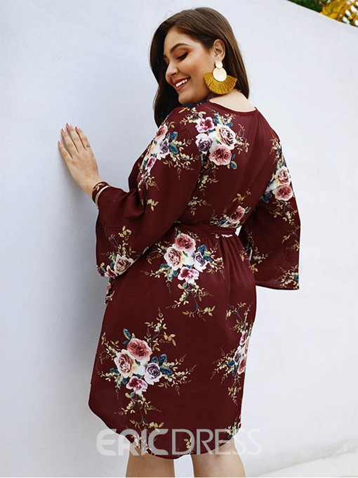Ericdress Plus Size Print Above Knee V-Neck Floral Travel Look Dress