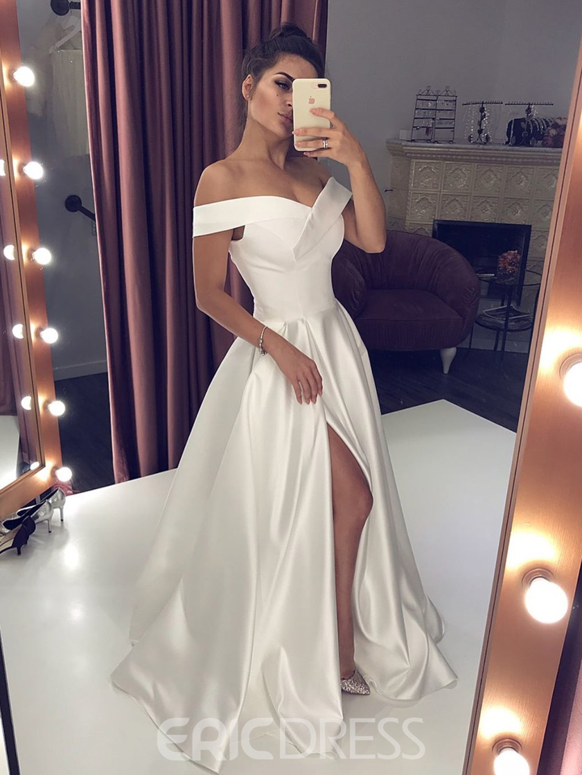 Split-Front Off-The-Shoulder Floor-Length A-Line Formal Dress 2019