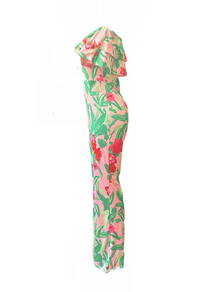 Ericdress African Fashion Print Travel Look Full Length High Waist Loose Jumpsuit