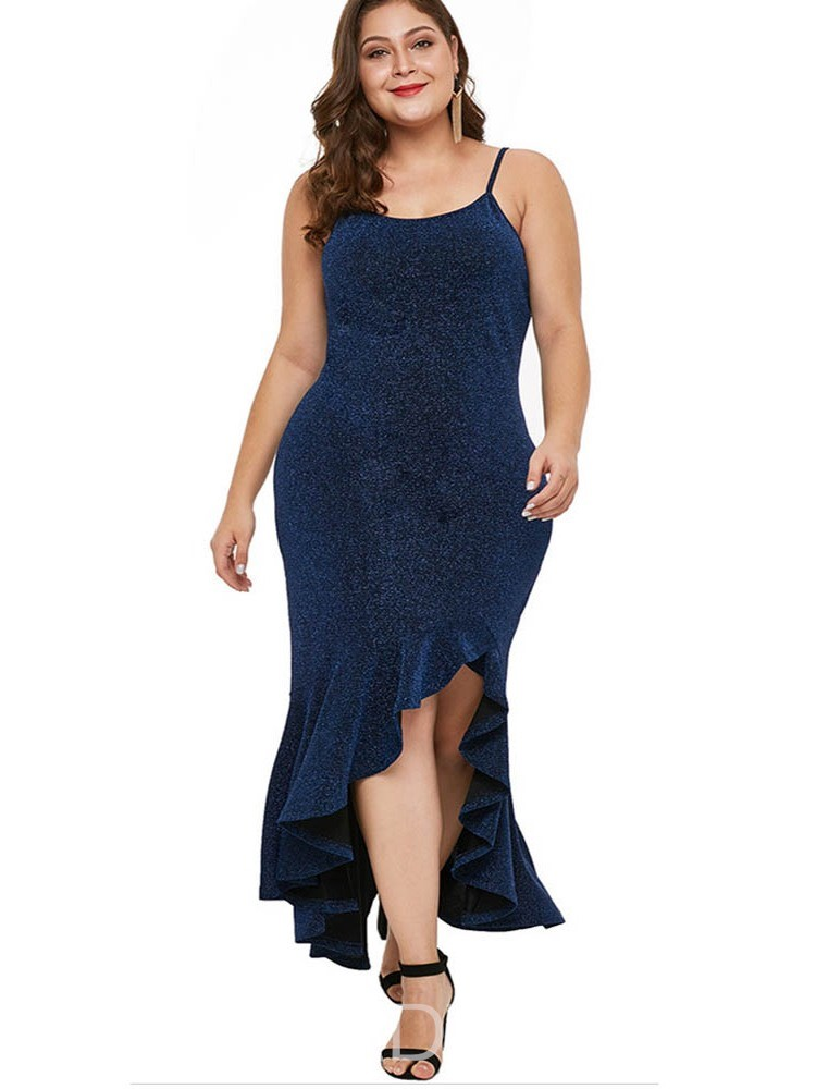 Ericdress Plus Size Sleeveless Ankle-Length Cocktail Asymmetrical Dress