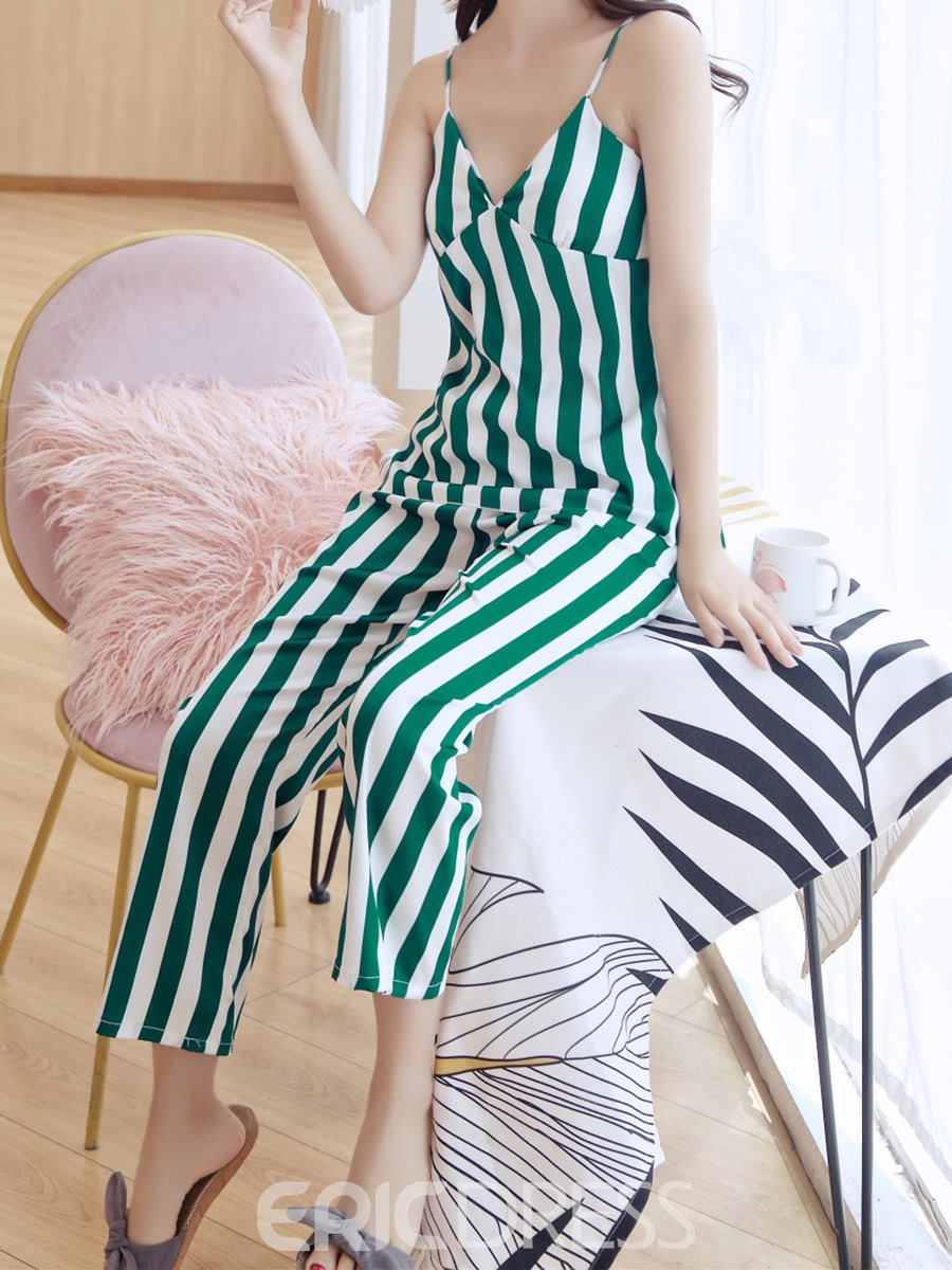Ericdress Print Color Block Vintage V-Neck Sleep Top Pajama Suit
