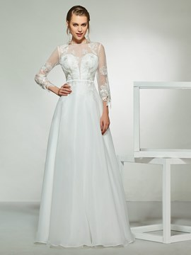 Ericdress Button 3/4 Length Sleeves Beach Wedding Dress 2019