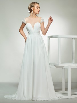 Ericdress Cap Sleeve Button Beach Wedding Dress 2019