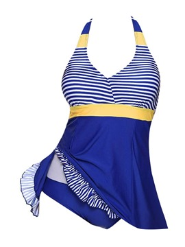 Ericdress Falbala Striped Patchwork Tankini Set