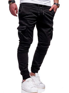 Ericdress Pocket Plain Lace-Up Casual Men's Pants
