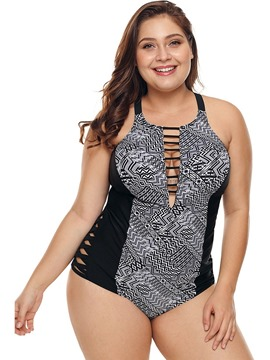 b66338d2b05a4 Ericdress One Piece Print Color Block Hollow Plus Size Swimwear