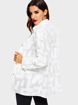 Ericdress Lapel Sequins Casual Long Sleeve Blouse