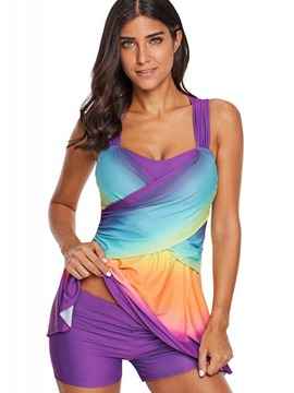 ericdress gradient beach look plus size tankini set
