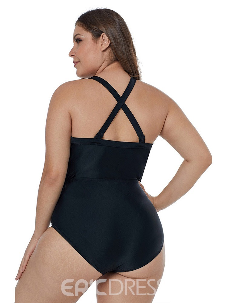 Ericdress Hollow Plain One Piece Plus Size Swimwear