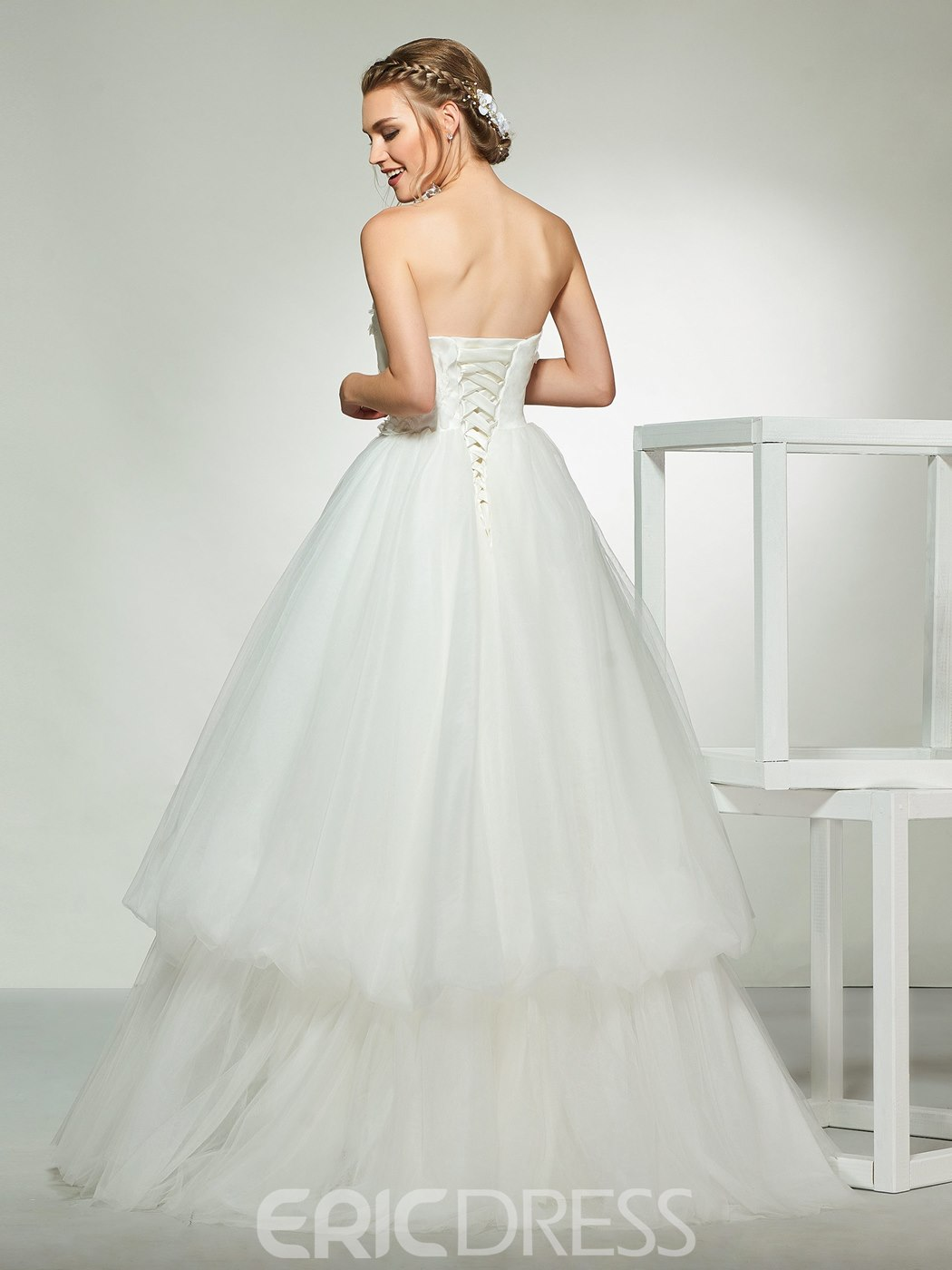 Ericdress Appliques Strapless Layers Wedding Dress