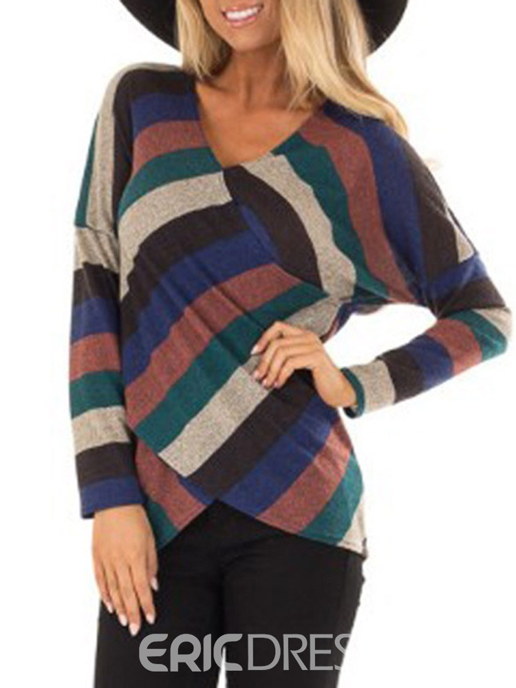 Ericdress V-Neck Stripe Long Sleeve Fall Loose T-Shirt