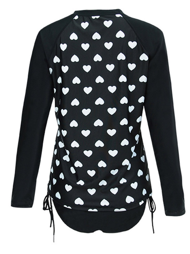 Ericdress Heart Shaped Sexy Print Long Sleeve Plus Size Tankini Set