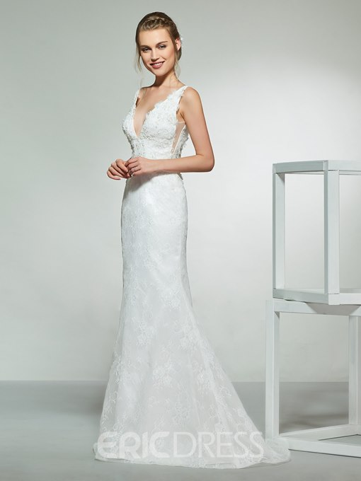 Ericdress V-Neck Lace Hall Wedding Dress 2019