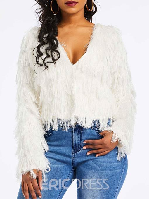 Ericdress Tassel V-Neck Slim Sweater