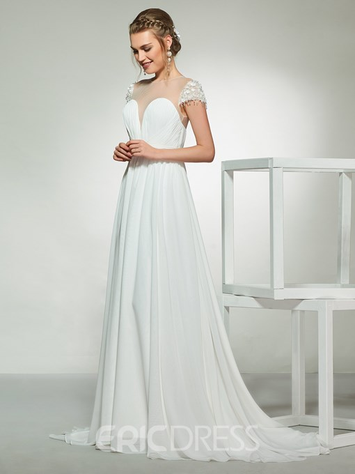 Ericdress Floor-Length Scoop Button Beach Wedding Dress 2019