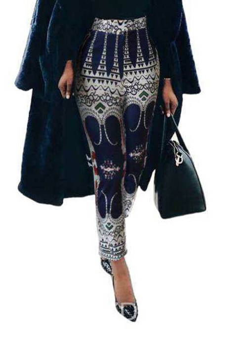 Ericdress Geometric Print Loose High Waist Full Length Casual Pants