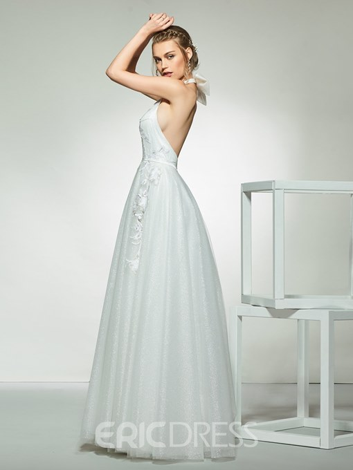 Ericdress A-Line Halter Floor-Length Beach Wedding Dress 2019