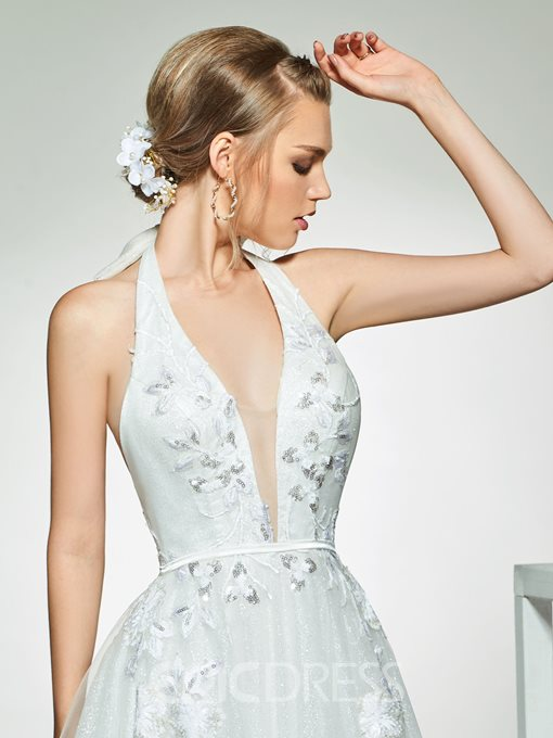 Ericdress Halter Sequins Backless Beach Wedding Dress