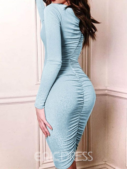 Ericdress Pleated Above Knee V-Neck Bodycon Dress