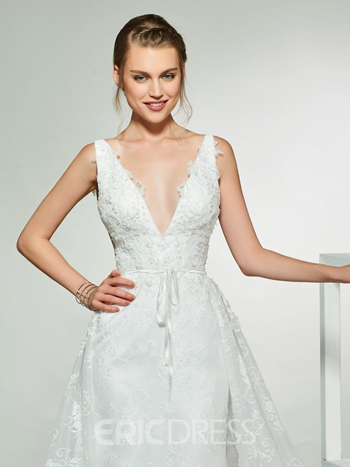 Ericdress V-Neck Lace Wedding Dress with Train