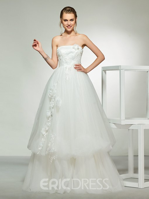 Ericdress Appliques Strapless Layers Wedding Dress 2019