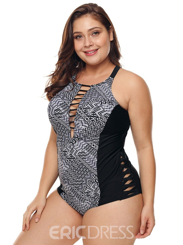 Ericdress One Piece Print Color Block Hollow Plus Size Swimwear