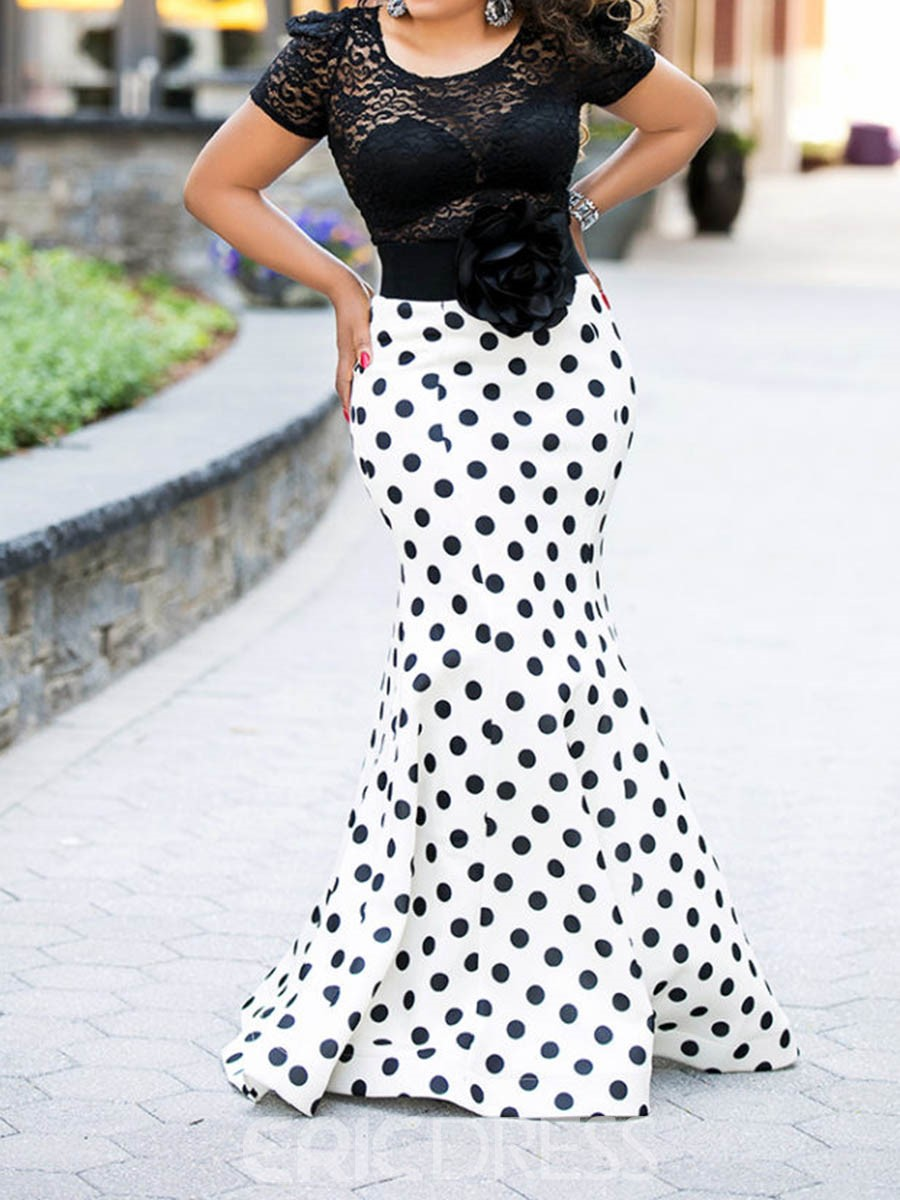 Ericdress Floor-Length Round Neck Polka Dots Lace Mermaid Dress