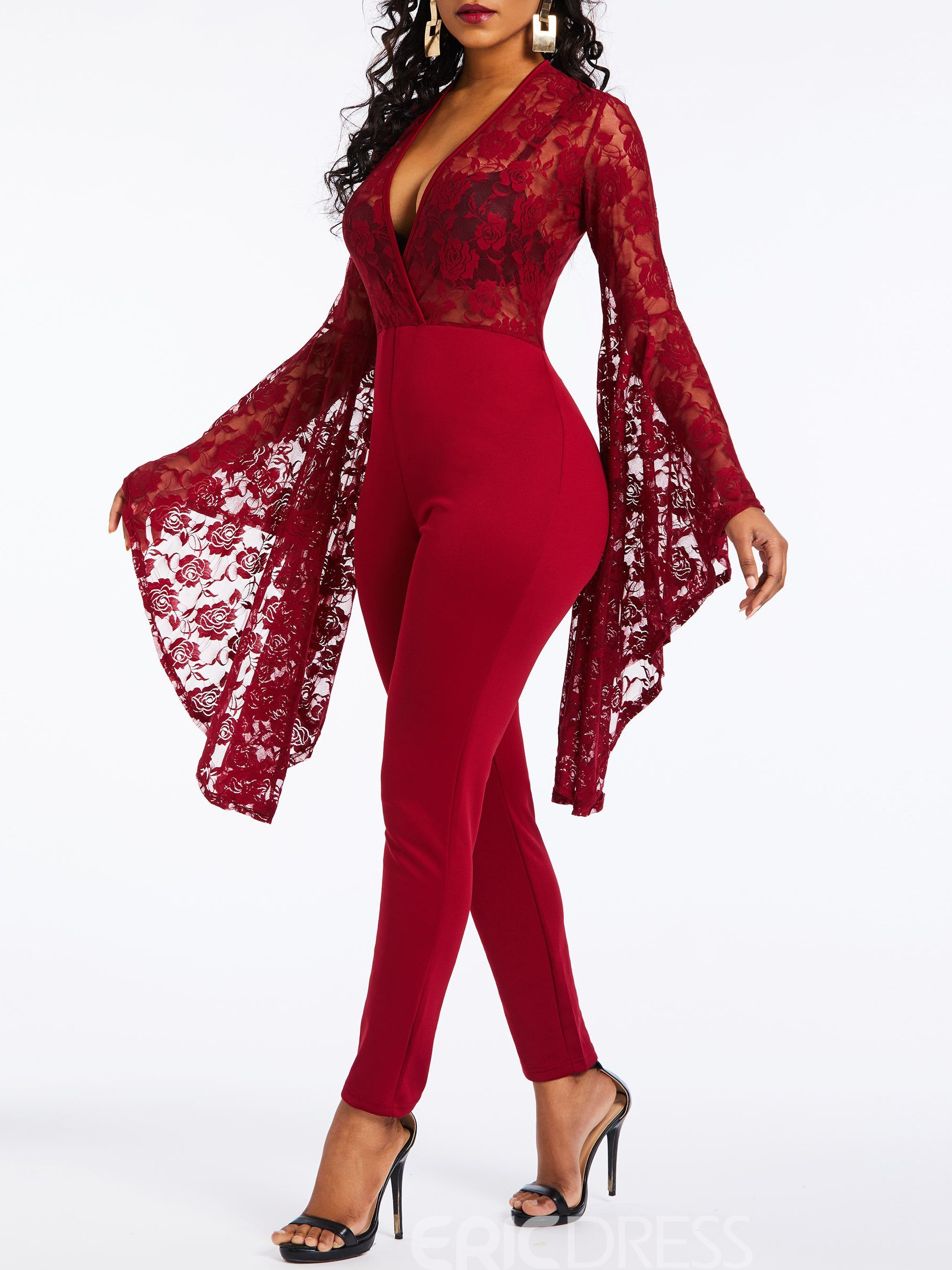 Ericdress Sexy Date Night Lace Slim Pencil Pants Jumpsuit