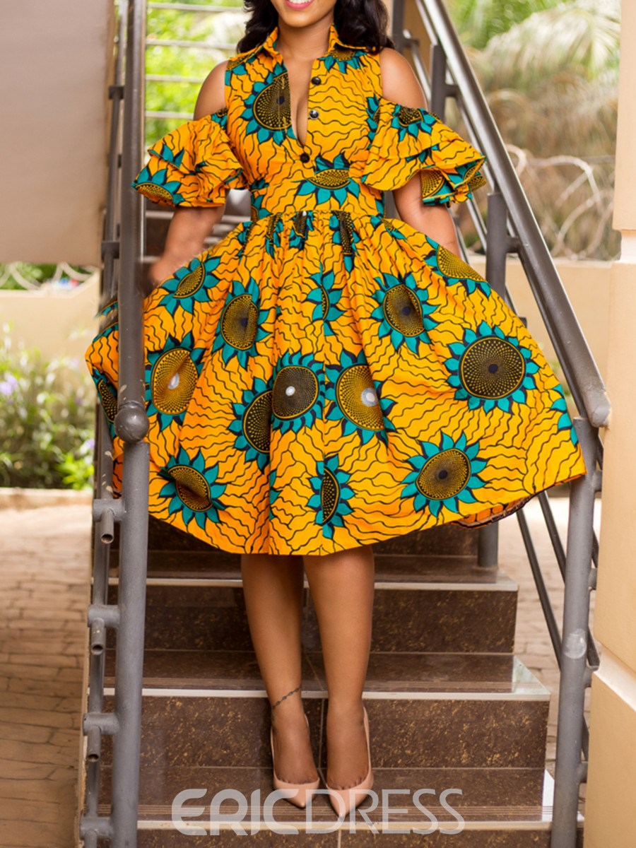 Ericdress African Fashion Mid-Calf Lapel Print Floral A Line Dress