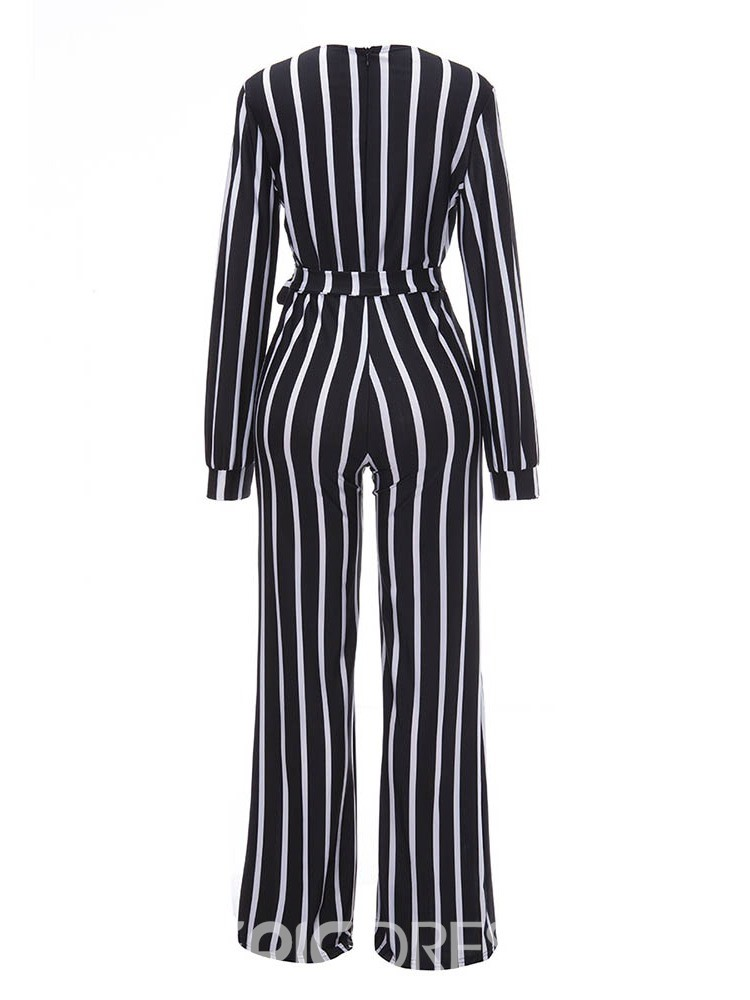 Ericdress Casual Lace-Up Striped Straight High Waist Jumpsuit