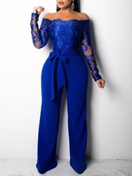 Ericdress Patchwork Lace-Up Lace Slim Wide Legs Womens Jumpsuit фото