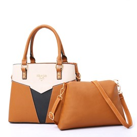 Ericdress Color Block Patchwork PU Bag Set