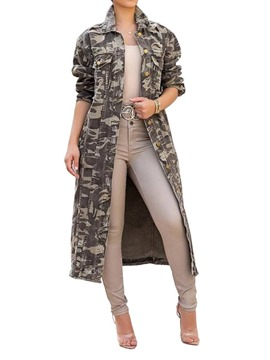 Ericdress Lapel Print Long Fall Loose Trench Coat