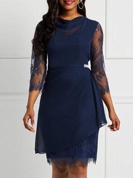Ericdress Knee-Length Three-Quarter Sleeve Lace Dress