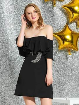 Ericdress Sheath Strapless Black Cocktail Dress 2019