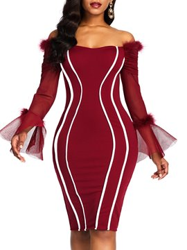 Ericdress Knee-Length Mesh Long Sleeve Pullover Mesh Dress