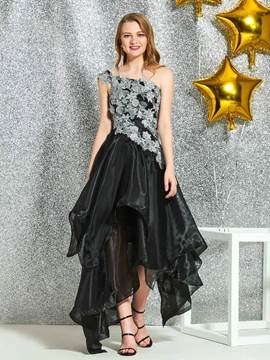Ericdress Asymmetry Appliques A-Line One Shoulder Black Cocktail Dress 2019