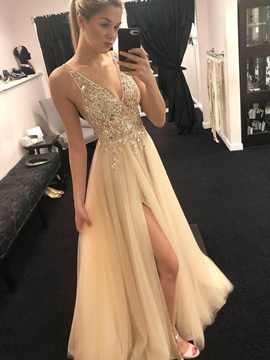 Ericdress Straps Beading Split-Front Prom Dress 2019