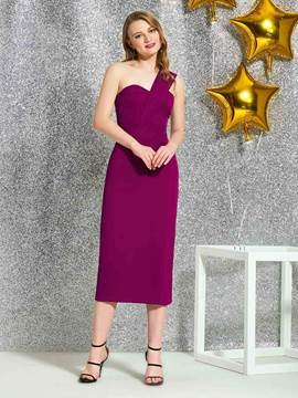 Ericdress Sheath One Shoulder Tea-Length Cocktail Dress