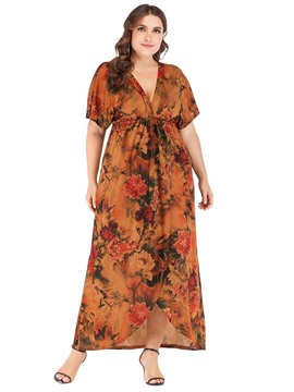 Ericdress V-Neck Short Sleeve Ankle-Length High Waist Plus Size Dress