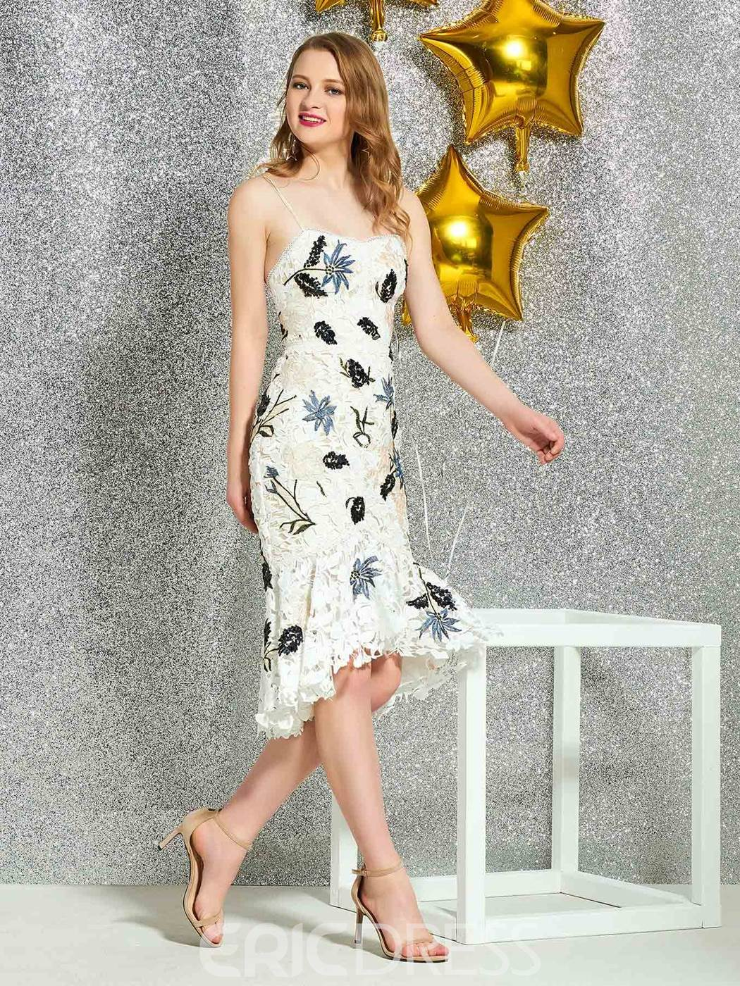 Ericdress Appliques Spaghetti Straps Lace Cocktail Dress 2019
