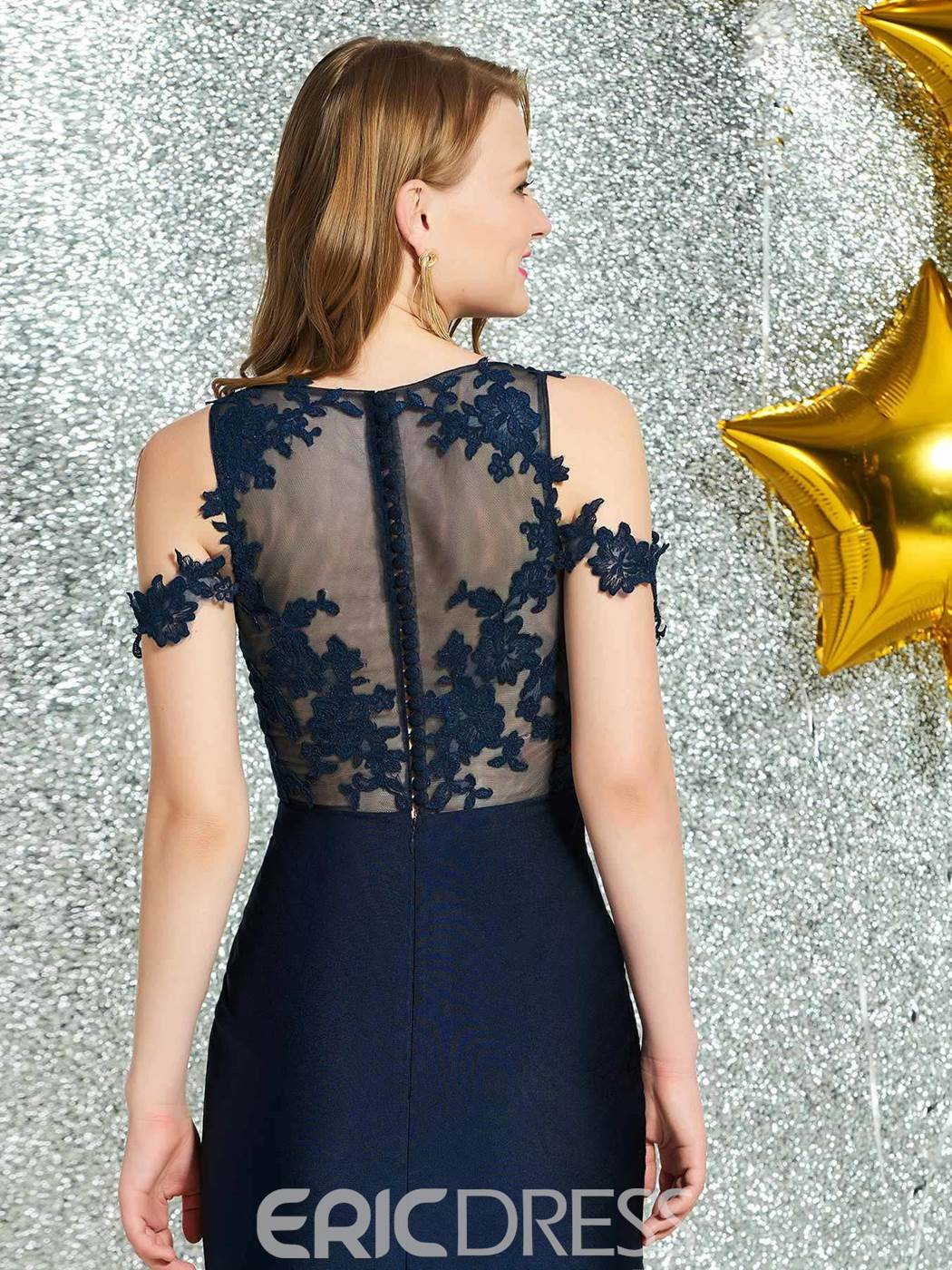 Ericdresss Sheath Appliques Short Cocktail Dress 2019