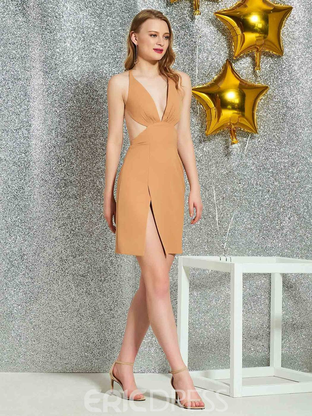 Ericdress V-Neck Sheath Backless Cocktail Dress 2019