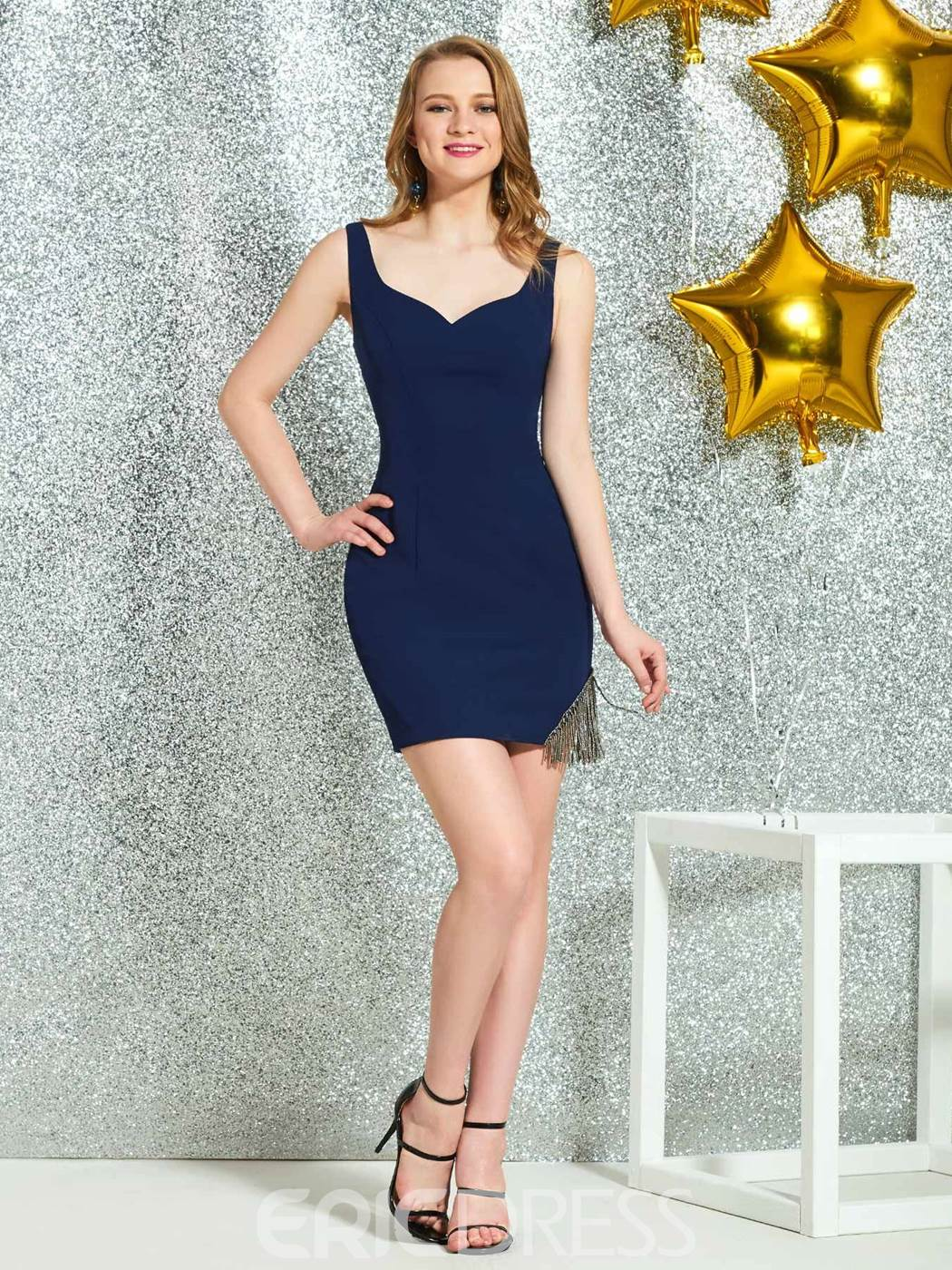 Ericdress Straps Sleeveless Sheath Cocktail Dress 2019