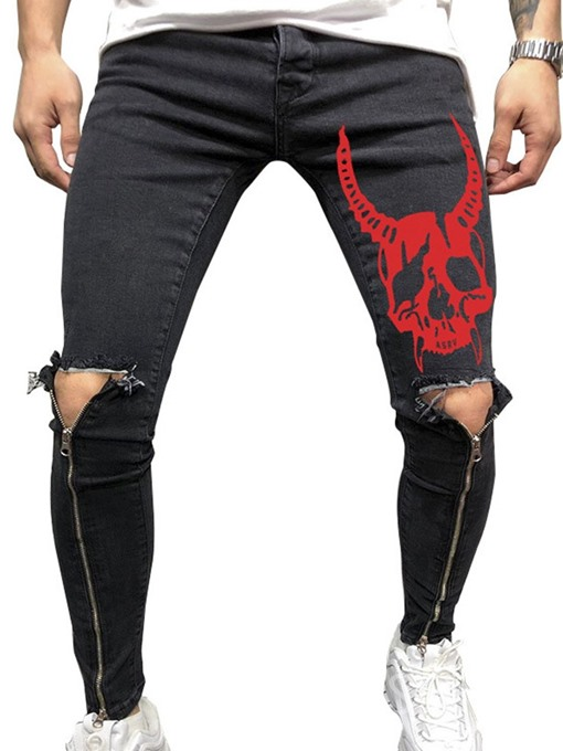 Ericdress Printed Zip Designed Mid Waist Mens Casual Ripped Jeans