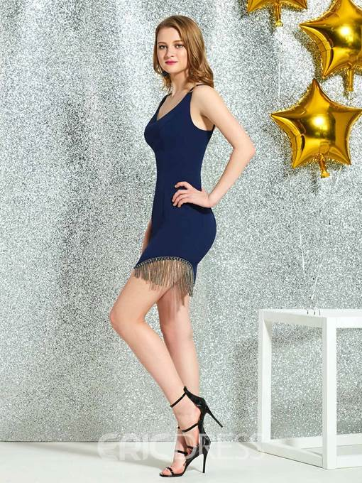 Ericdress Straps Beading Tassel Sheath Cocktail Dress 2019