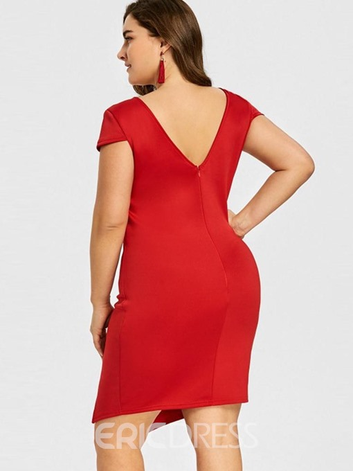 Ericdress Plus Size Short Sleeve Knee-Length Asymmetric Sexy Pullover Dress