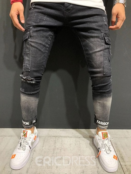 Ericdress Printed Pocket Mid Waist Mens Pencil Ripped Jeans