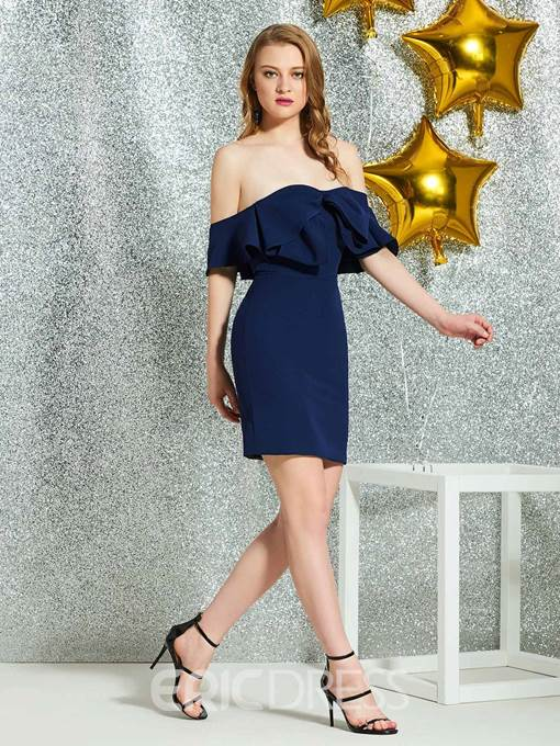 Ericdress Sheath Ruffles Short Sleeves Cocktail Dress