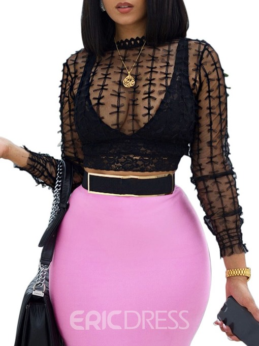 Ericdress Regular See-Through Mesh Short Blouse